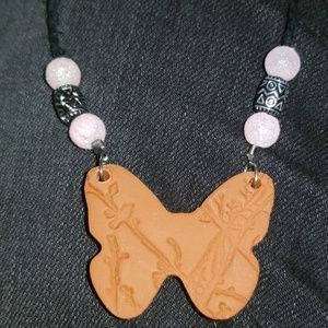 Beaded Butterfly with Bird/Tree Design Necklace